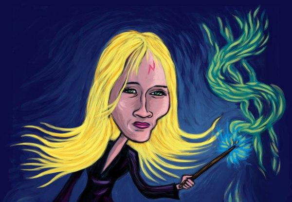 Caricature JK Rowling (détail) - Illustration de Gilderic