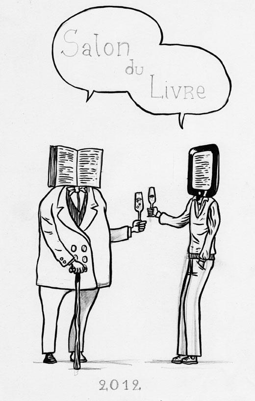 Salon du Livre 2012 (Du livre à l'e-book), projet 2 - Illustration : Gilderic