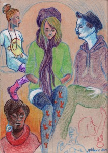 Des visages, des figures (recherches graphiques) - dessin : Gilderic