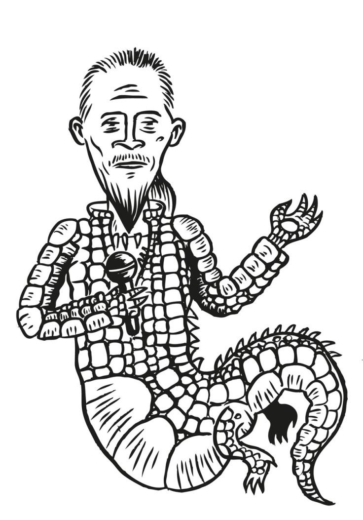Crocodile Pagny (Florent Pagny) - Illustration : Gilderic (dessin original n&b)