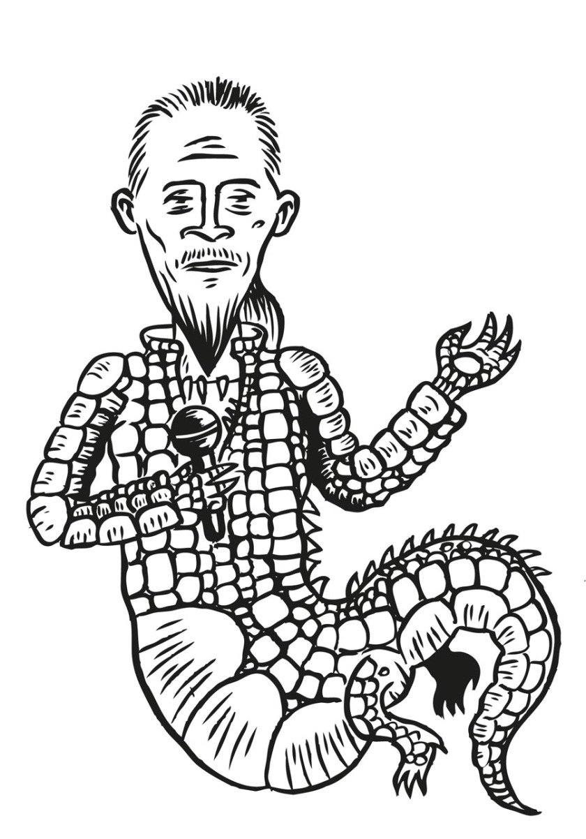 Crocodile Pagny (Florent Pagny) - Illustration : Gilderic (dessin original n&b)