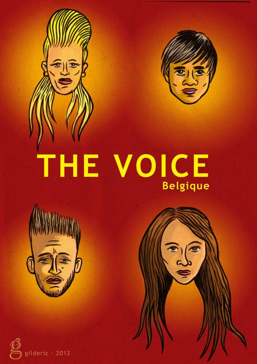 les finalistes The Voice Belgique : Daisy, Roberto, Renato, Giusy (illustration : Gilderic)