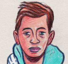 Des Visages, des figures : l'Ado en bleu (détail visage) - Dessin : Gilderic