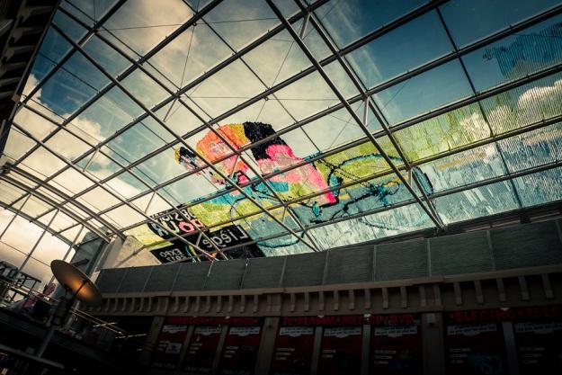 Fresque Post-It Tour de France -  Galerie Saint-Lambert, Liège - Photo : Gilderic