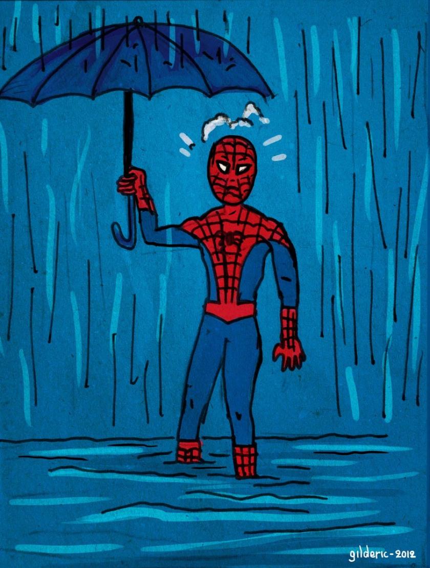 Spiderman sous la pluie (Illustration : Gilderic)