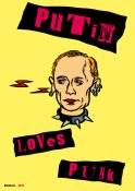 Vladimir Putin loves punk (poster) - caricature : Gilderic