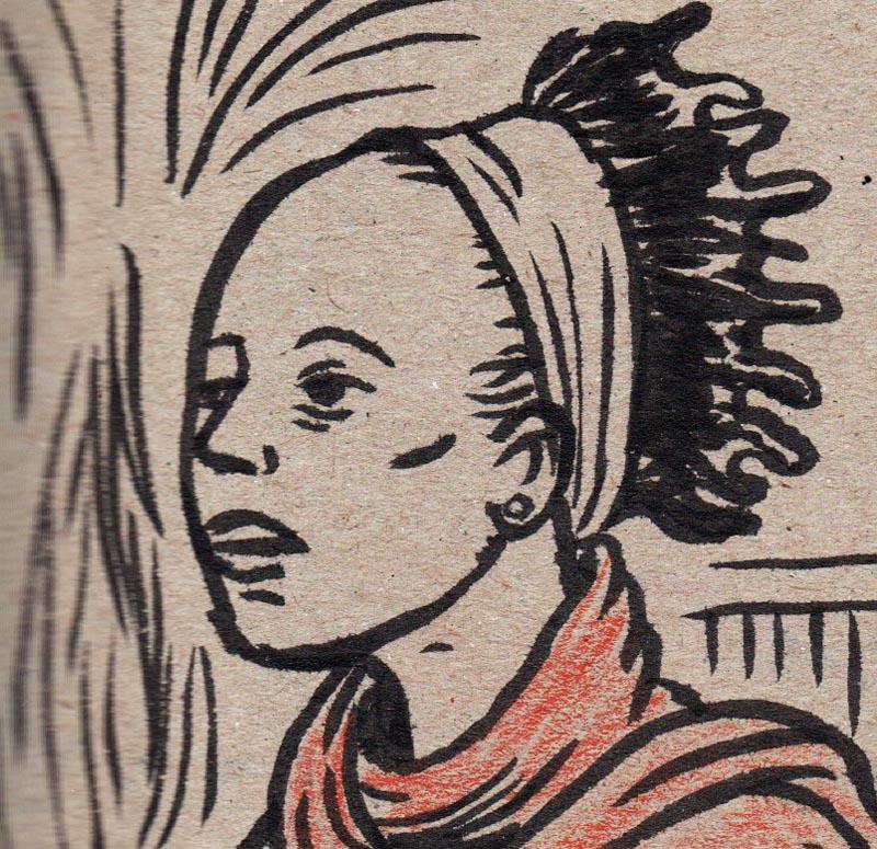 Visage africain - dessin de Gilderic