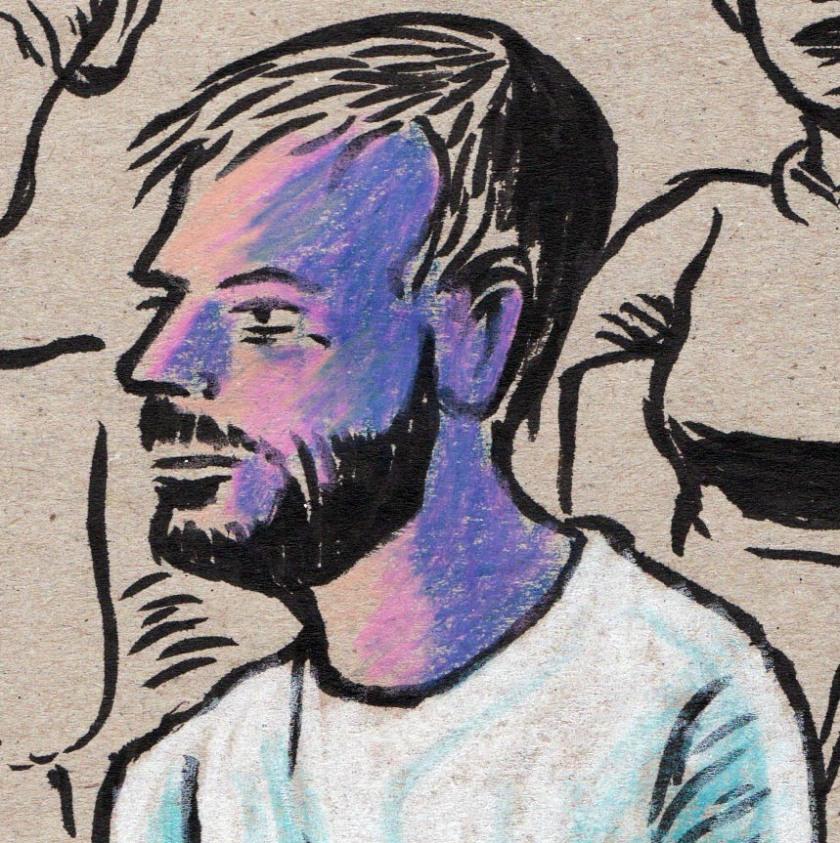Visage d'homme (détail) - dessin : Gilderic