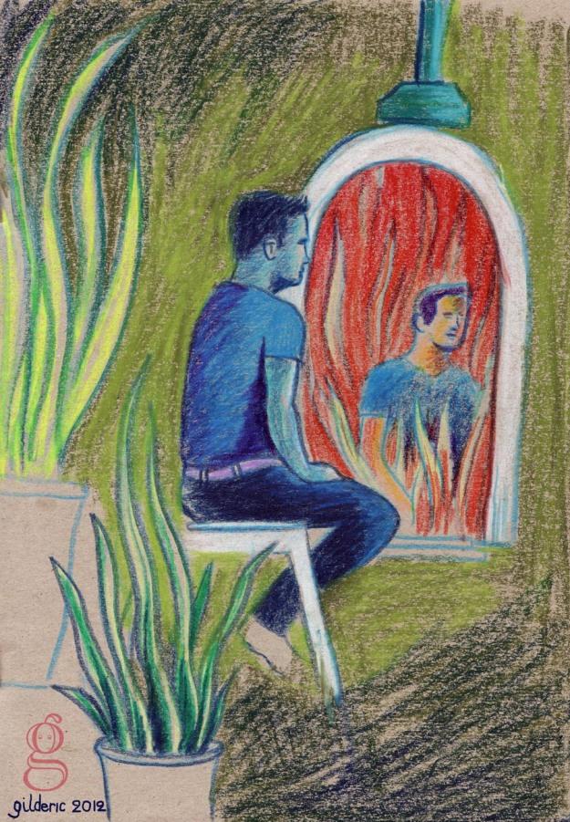 A travers le miroir (dessin d'après modèle de Gilderic)