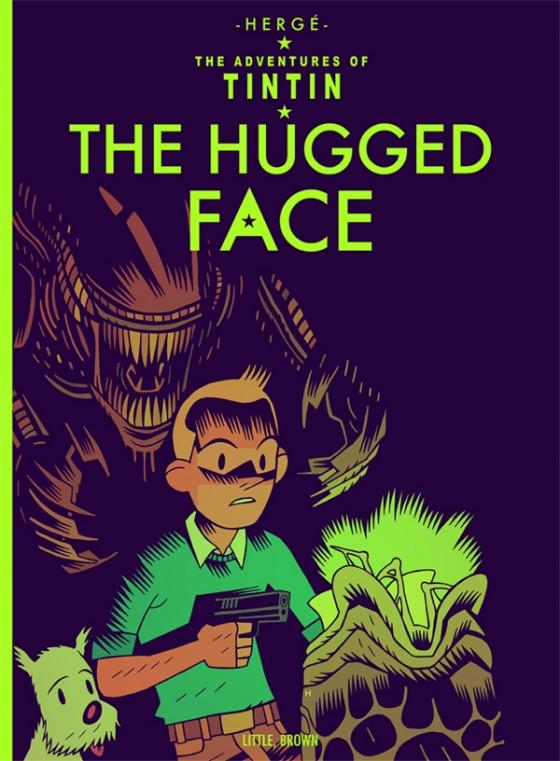 The Hugged Face -  Tintin vs Alien, illustration de Mister Hipps