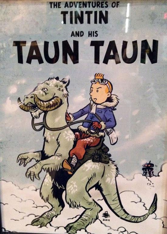 Tintin et le Taun Taun (Mash-up Tintin-Star Wars) par Benjamin Rivers