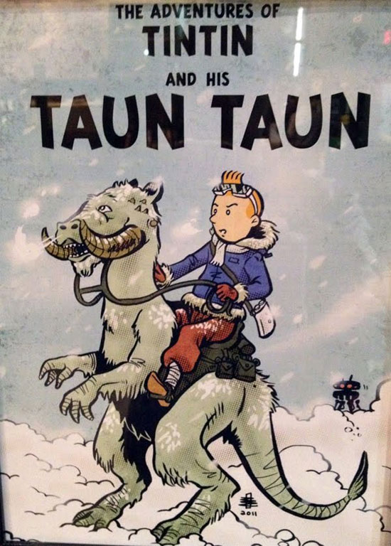 Tintin et le Taun Taun (Mash-up Tintin-Star Wars) par Benjamin Rivers