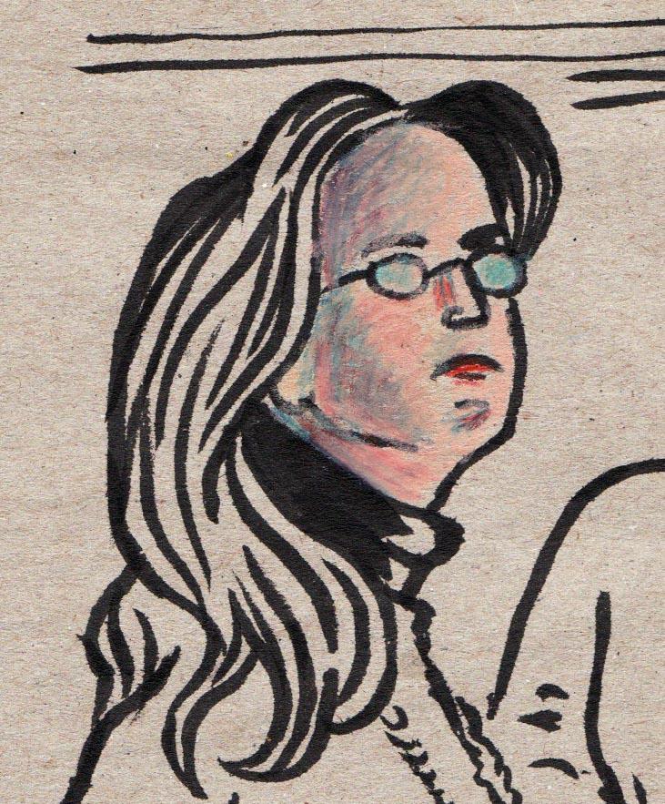 Visage de femme (détail) - dessin de Gilderic