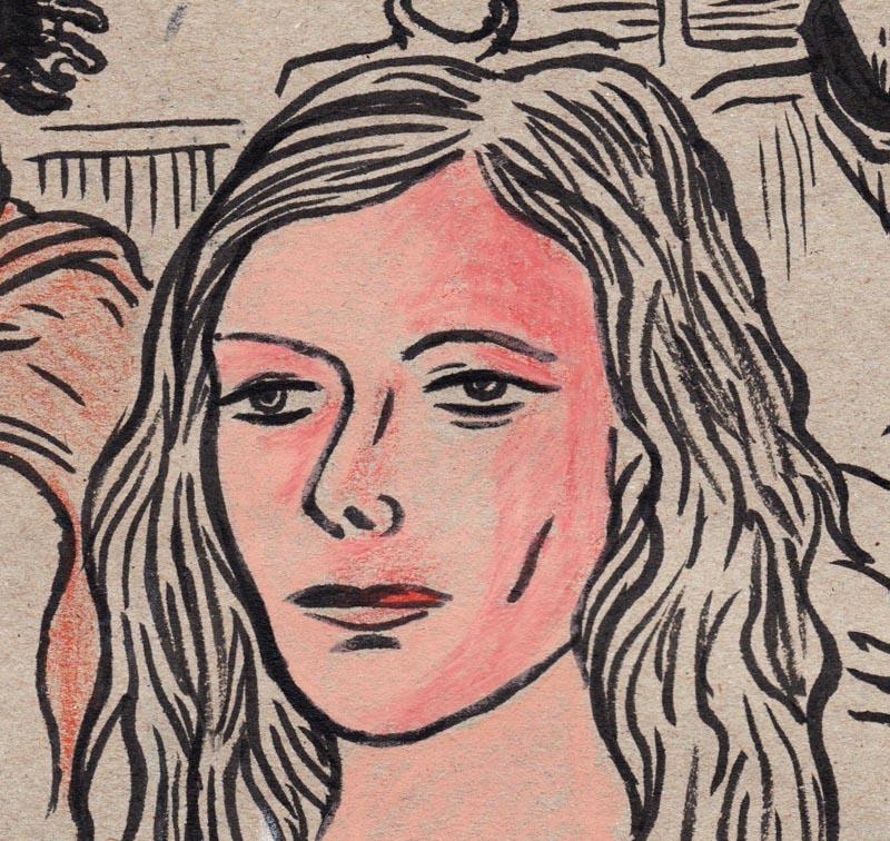 Visage de jeune fille (détail) - dessin de Gilderic