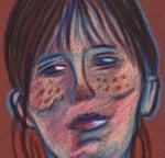 Le visage de la comédienne (détail) - dessin : Gilderic