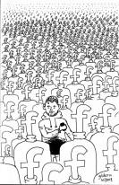 Un milliard d'utilisateurs Facebook et moi (dessin de Gilderic)