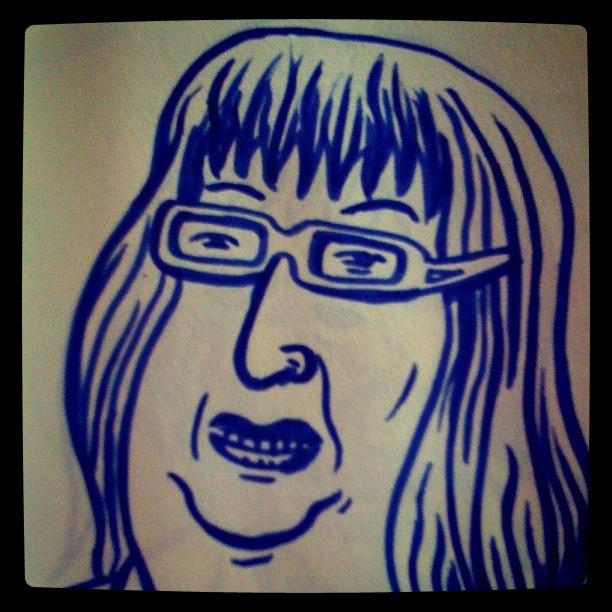La femme du talk show - Dessin de Gilderic (Instagram)