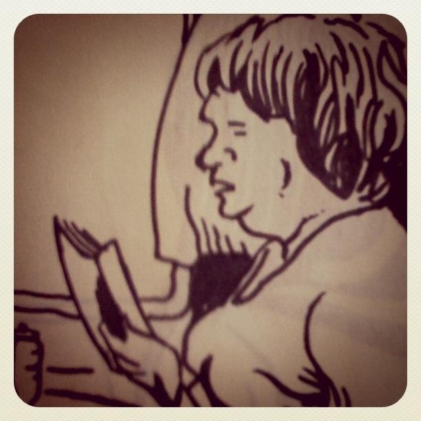 La lectrice du train - dessin de Gilderic (Instagram)
