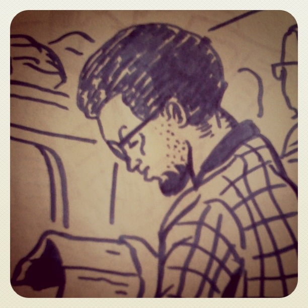 L'homme du train - Dessin de Gilderic (Instagram)