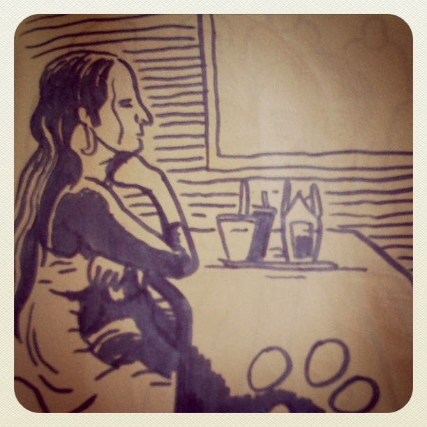 Au fast-food - dessin de Gilderic (Instagram)