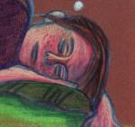 Jeune fille endormie - dessin : Gilderic