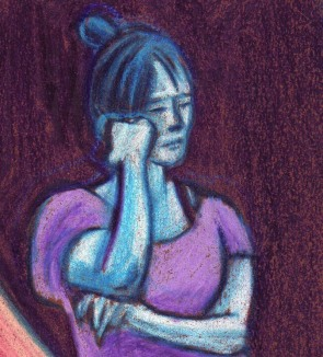 Jeune fille assoupie (détail) - dessin : Gilderic
