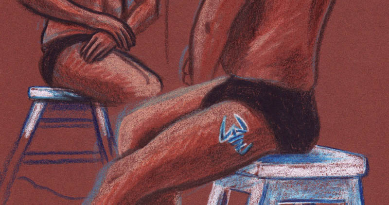 Des visages, des figures : le garçon aux tatouages (cuisse et mains) - Dessin : Gilderic