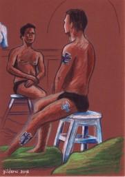 Des visages, des figures : le garçon aux tatouages (étude de nu) - dessin : Gilderic