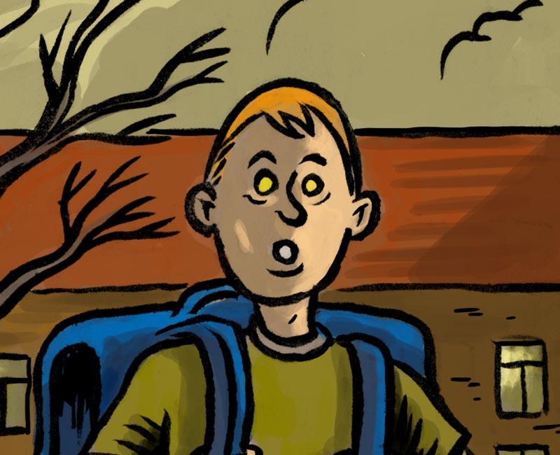 Etrange écolier (Etrange automne, détail) - Illustration : Gilderic