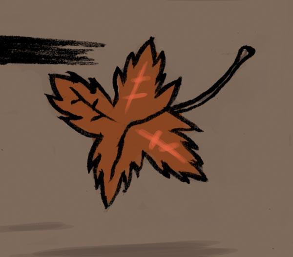 Feuille qui tombe (Etrange automne, détail) - Illustration : Gilderic