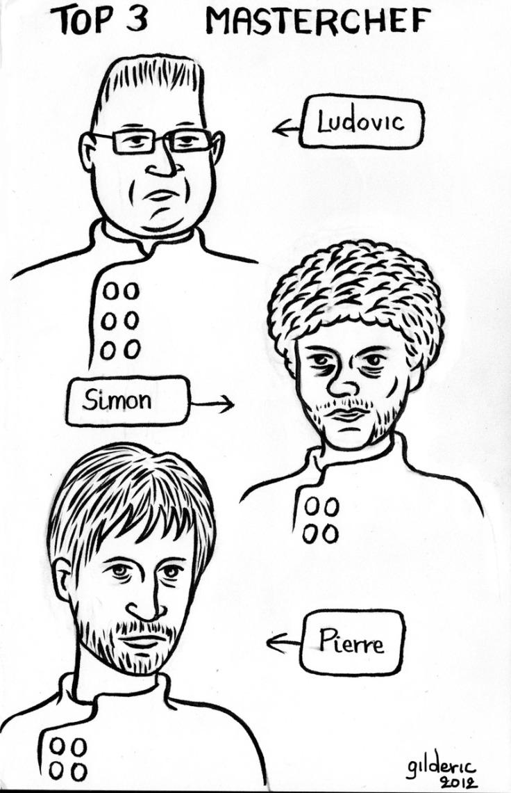 Top 3 Masterchef : Ludovic, Simon et Pierre - dessin : Gilderic