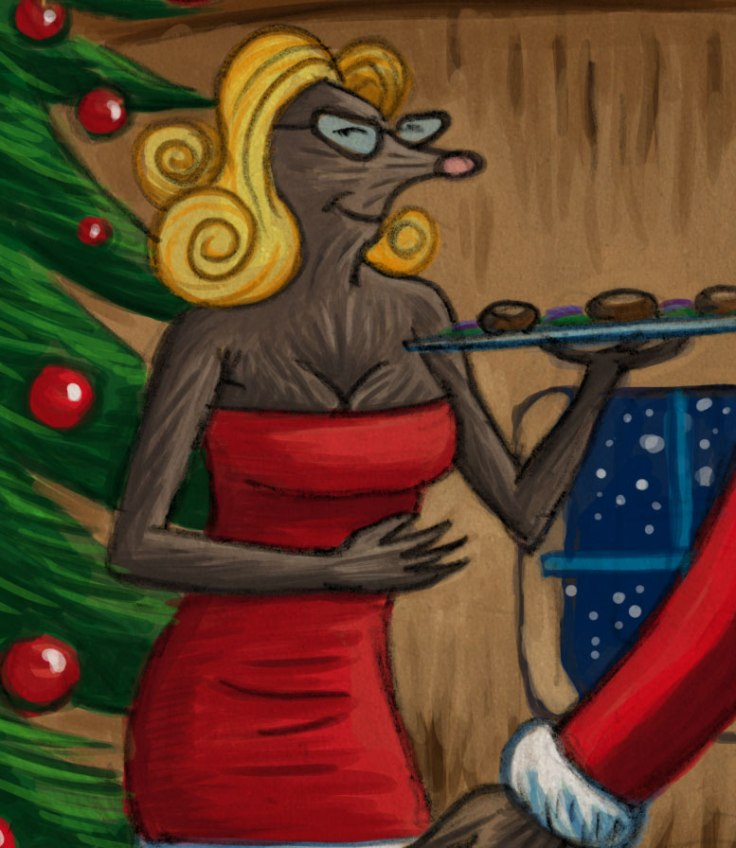 Taupe Pin-up Christmas (detail) - illustration : Gilderic