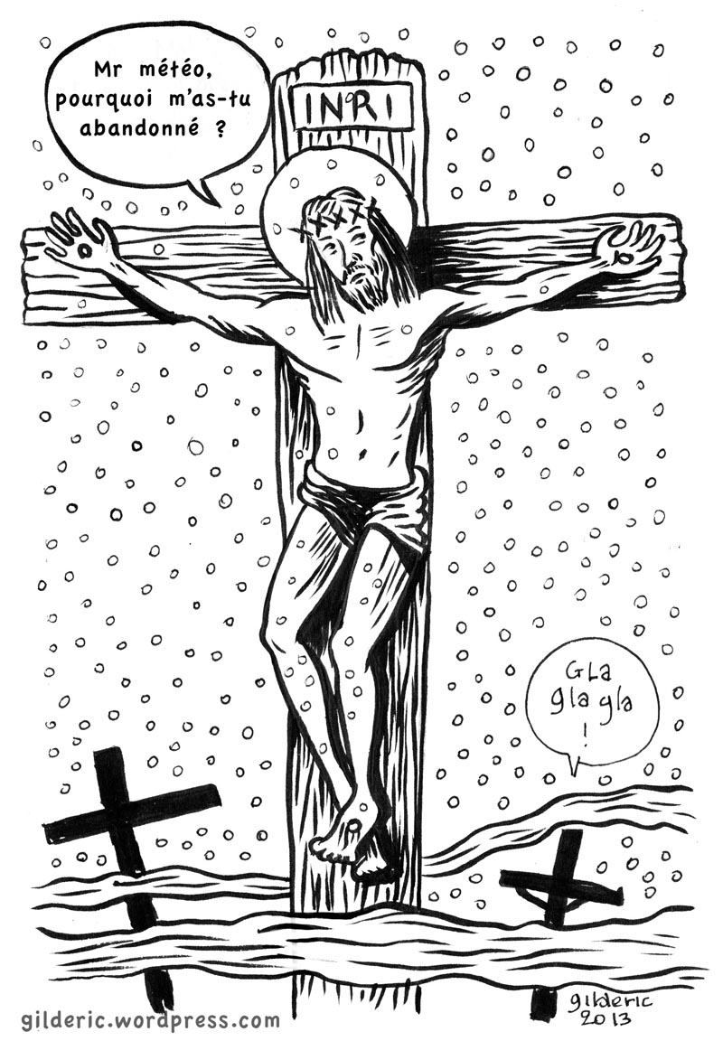 Christ sous la neige -  Dessin de Gilderic