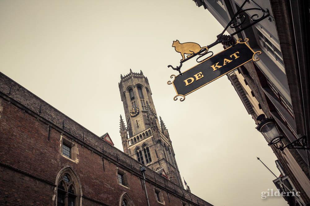 """Enseigne """"De Kat"""" à Bruges (Belgique), près du beffroi - Photo"""