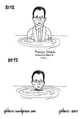 François Hollande et la crise - Dessin de Gilderic