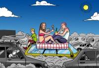 pique-nique sur autoroute - Dessin de Gilderic