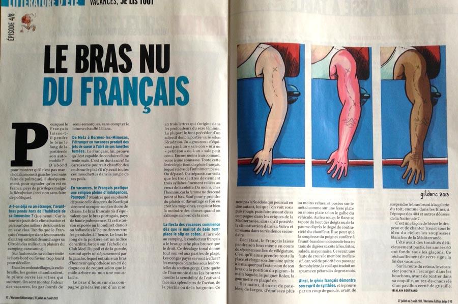 Le Bras nu du Français (Marianne Belgique) - Dessin : Gilderic