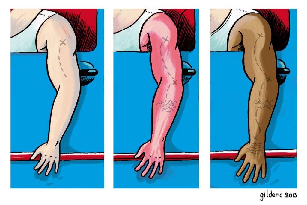 Le bras du Français - dessin humoristique