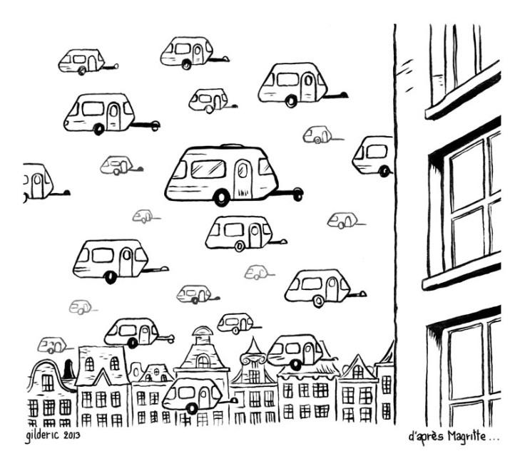 Une caravane en Hollande - dessin de Gilderic (d'après Magritte)