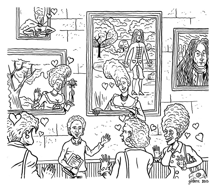 Visite guidée (dessin noir et blanc) - Dessin de Gilderic