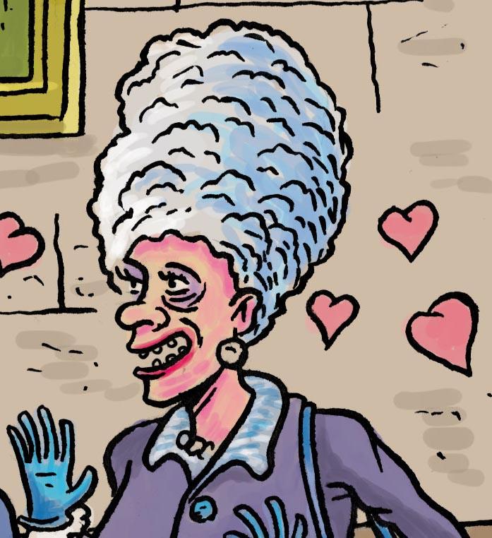 Visite guidée (détail : Marge Simpson) - Dessin de Gilderic
