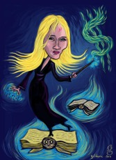 J.K. Rowling, auteur d'Harry Potter (caricature) - Dessin de Gilderic