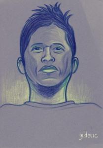 Des visages, des figures : visage masculin (portrait) - dessin de Gilderic