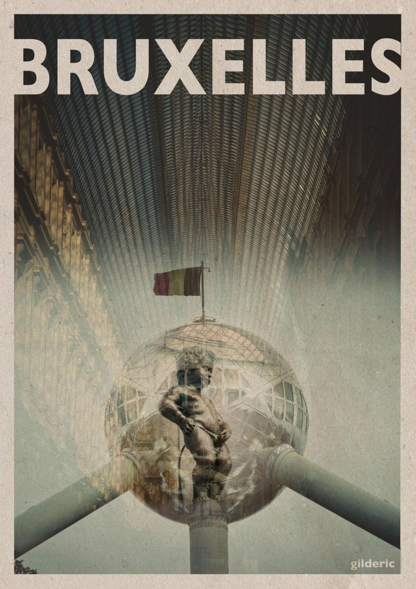 Bruxelles - travel vintage poster - Photo et design : Gilderic