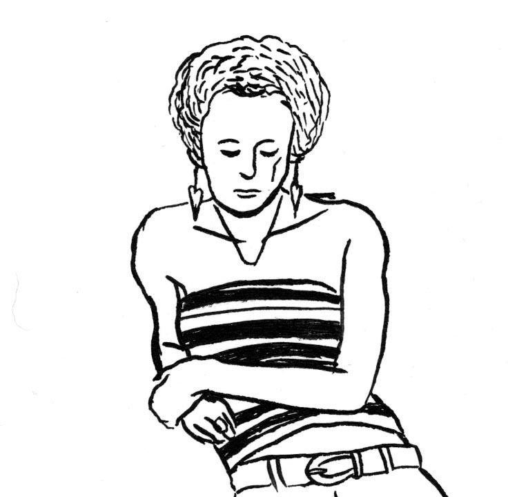Des visages, des figures (détail) : jeune fille rêvassant - Dessin de Gilderic