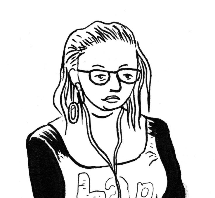 Des visages, des figures (détail) : jeune fille aux écouteurs - Dessin de Gilderic