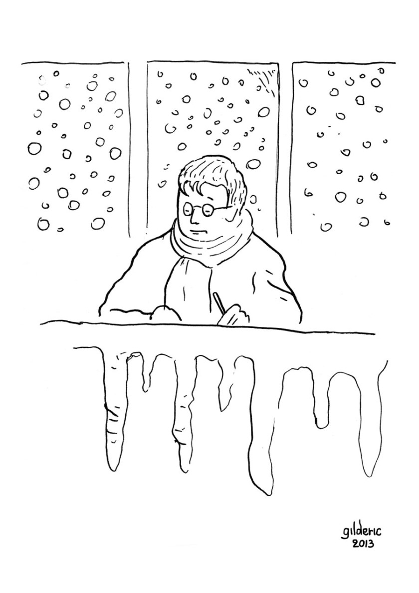 Panne de chauffage (noir et blanc) - Dessin de Gilderic