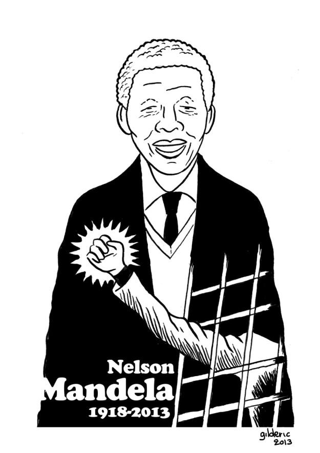 Nelson Mandela (noir et blanc) - dessin de Gilderic