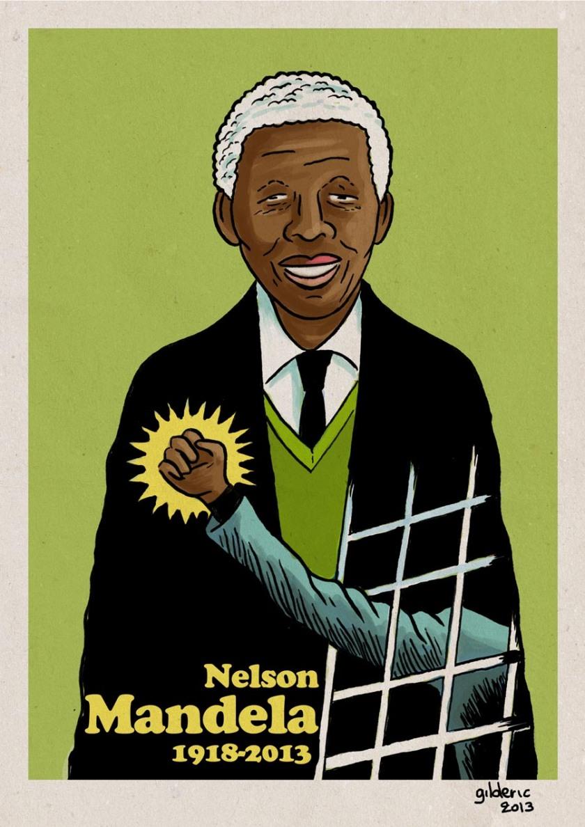 Nelson Mandela (couleur) - Dessin de Gilderic