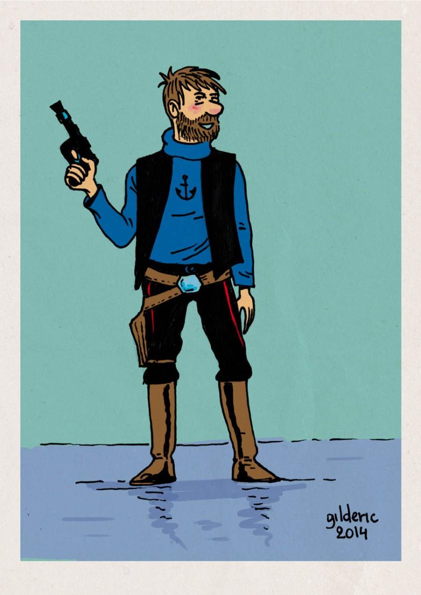 Tintin Star Wars : Haddock Solo - Dessin de Gilderic